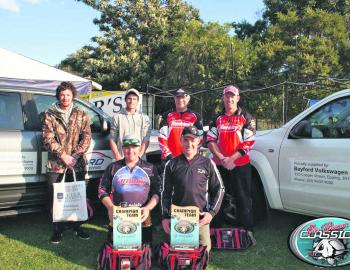 The top three teams – 3rd place was awarded to Team Berkley, which consisted of Brad and Mike Hodges. Team Keepin' It Reel, Isaac Primmer and Morgan Flukes in 2nd Place, and 1st Place Team Colac Tackle Samurai Rods, Dan Mackrell and Steve Parker pose for