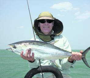 Even a small longtail tuna like this one will give the angler a thorough work out.
