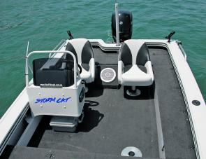 The Stormcat's clean, uncluttered cockpit work area allows a few more anglers to work in comfort.