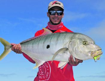 The author with a solid winter golden taken off a bait ball while targeting snapper.