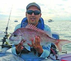Mark Moseley emailed this photograph of his first ever decent sized-snapper which came about after 12 months of persistence! Mark was fishing out past Altona near the T7 marker buoy with pilchard.