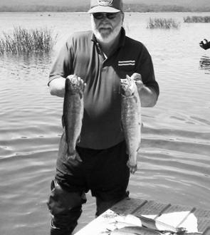 Horsham angler Bill Rowe with a catch of rainbow trout from Lake Wartook.