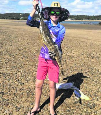 Young Connor Joynson with this awesome flathead caught first cast on a hardbody at the mouth of the Boyne River.