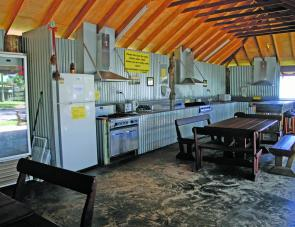 The camp kitchen at Ballina Beach Village is large enough for several families or groups to use at the same time.