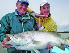 Mick Deroy with 112cm barra taken on an Assassin lure.