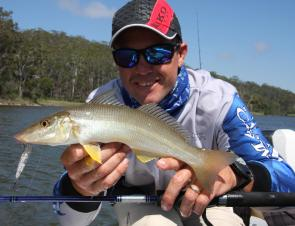 Topwater lures that imitate prawns can raise a host of species to the surface but none tastier than the sand whiting.