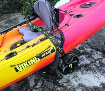 The C-Tug Kayak Trolley makes transporting the kayak to and from the water a breeze.