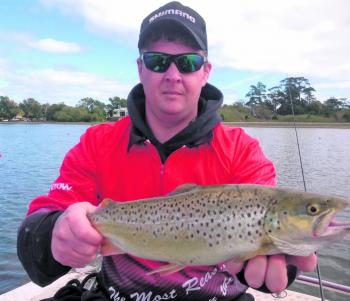 "Brad Cox's Lake Wendouree brown trout caught casting a 3"" Fish Arrow soft plastic."
