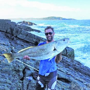 David Henry with a mulloway he landed on a recent rock fishing expedition.