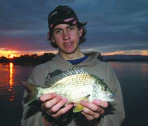 Matthew Dean from Greenwell Point with a late-afternoon bream from the Shoalhaven River. The river has been fishing pretty well after several months of rain that gave it a good flush-out.