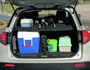 Like a lot of modern SUV wagons the Vitara offers ample room for storage of fishing tackle. Love that high lift boot lid.