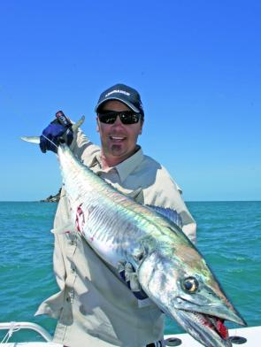 While the GTs gave Greg a serious touch up, he did manage this great Spanish mackerel.