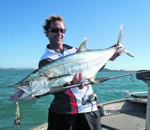 This solid grey mackerel was caught casting to a frenzied surface feeding school.