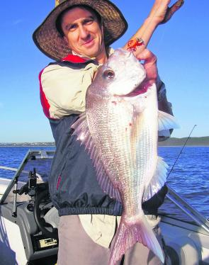 Jim Laird with a fine Sunshine Reef snapper caught on an Octo Sniper Jig.