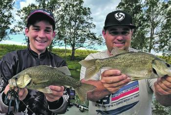 Adrian and Anthony Melchior with a double hook-up on Richmond River bass.