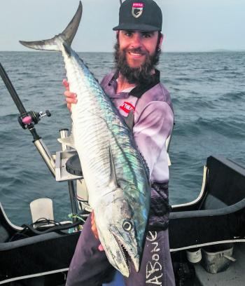 Sam Gilchrist has been raking in double mackerel hook ups while fishing solo in the By The Gills Apparel team boat.