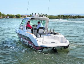 The duckboard and sterndrive are compact and the lack of an outboard cowling actually frees up room to fish.