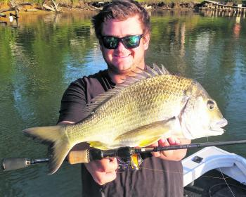 Dayne Taylor hasn't stopped talking about this bream he caught down in the Kalang River.