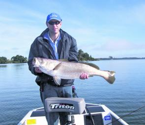 Ritchie Duncan with the sort of school mulloway you can expect to encounter around Maclean in September.