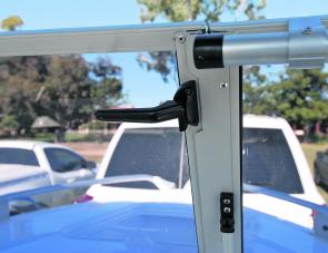 The split, fold out windscreen is secured by twist handles that are easy to use and, importantly, access to the anchor well is easily gained.