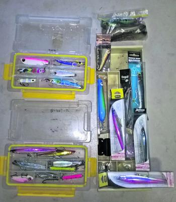 An assortment of excellent tailor lures including Adagios, Engulf, and Tamban jigs and Lively Lures pencil poppers.