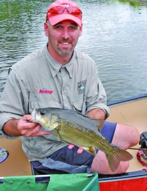 Brian Everingham with a solid 45cm fork length bass caught and released from a local waterway.