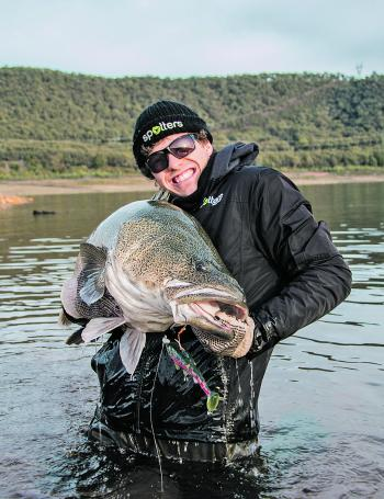 Monster winter metre Murray cod that smashed the FX Fury soft plastic.