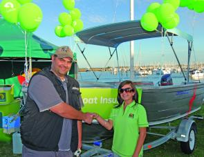 Olivier Nyst was a surprised and delighted winner of the Kratmann's boat motor and trailer package with Suncorp Insurance and $1000 of BCF and Berkley product.