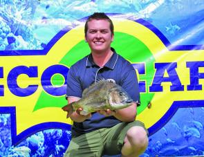 Matthew Leach from Team Bluey's Bait and Tackle displays the 1.49kg Ecogear big bream he landed on day one.