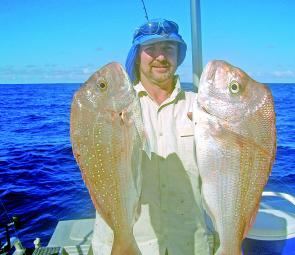 Snapper like this pair are showing up in good numbers – both of these fish were caught on gulp shrimps.