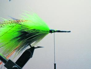 Repeat step 4 using chartreuse marabou.