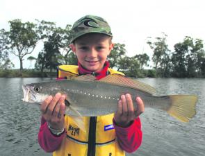 Alec, 9, with his first mulloway. Three casts into the morning session, a 50cm fish is not a bad way to start the day.