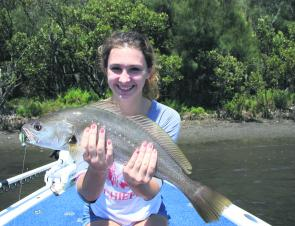 Alex with her first mulloway, of 65cm, caught at 11.30am and released.
