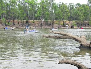The river downstream from the weir wall was a very popular destination for many competitors.