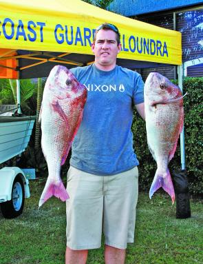 Shane O'Donnel with two snapper he caught recently during the Caloundra Coast Guard Fishing Competition.