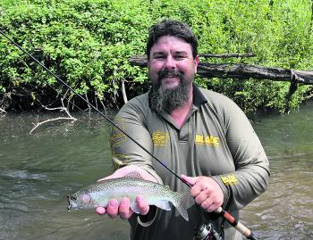 A Buffalo River rainbow trout caught on a soft plastic.