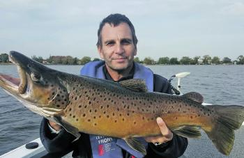 The author's trophy Wendouree brown trout of 3.7kg caught casting a bent minnow style lure. Photo courtesy of Ben Young.