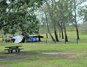 A picnic table set up under a shady tree is a very inviting item at Monduran's camping area.