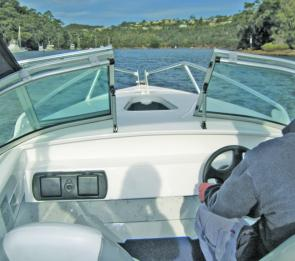 The Bay Cruiser's windscreen rail is high enough to be out of the skipper's line of sight.
