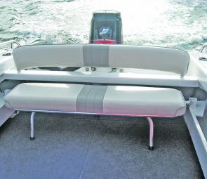 A drop down rear lounge makes a lot of sense in a smaller fishing boat; with the lounge dropped there's even more room.