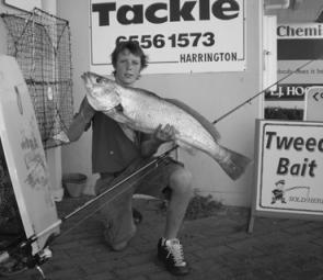 Jonah Gagnuss is one of many who have been catching mulloway on soft plastics around the Manning and surrounding beaches.