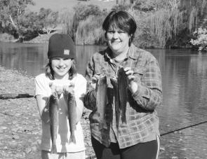 Sue and Courtney Brown caught these lovely trout on maggots and scrubworms in the Goulburn River.