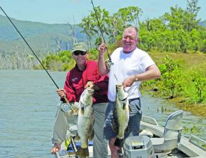 Both fly and lure are effective at Teemburra Dam as Keith Day and Wayne Kampe recently found out.