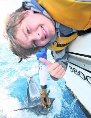 What a way to open your marlin account! Even a 13-year-old can have the chance of a fish like this blue if the gear is manageable.