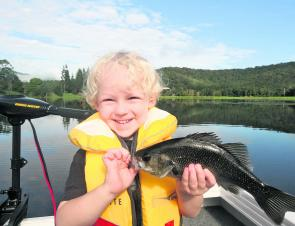 Bass are good fish to start the young fellas on lure fishing – just beware of the spines.