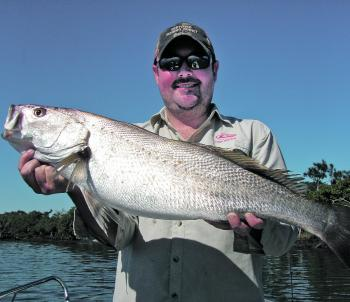 The size limit for mulloway is 75cm. Even though this was a great catch, it was only 74cm and had to go back.