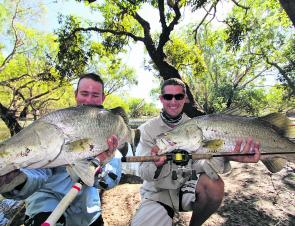 A brace of hefty freshwater barra taken on a recent camping trip up the cape.