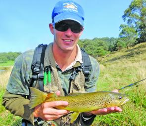 Lucas 'Salad Fingers' Green with a lovely Ebor brown trout. October is shaping up to be a cracker in the high country.