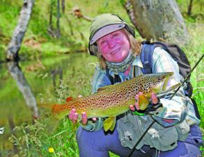 There are plenty of big brown trout like this one in New England streams. Denise took this fish on the Composite Development ICT six weight which she declared as hers for the trip.