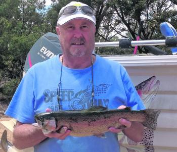 Bill Johnston landed this lovely little rainbow trolling a Tassie Devil at Lake Fyans.